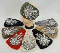 Wide Hand Knitted Ear Band w Floral Applique [Lace & Gems]